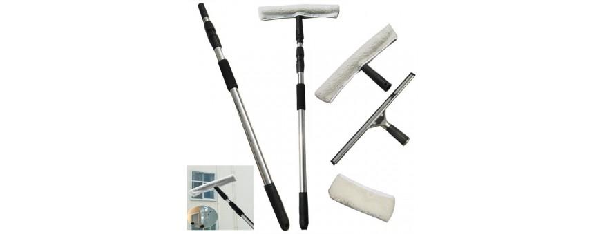 Уреди и аксесоари за почистване на стъклени повърхности.
